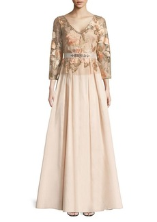 Adrianna Papell Floral-Embroidered Taffeta Dress