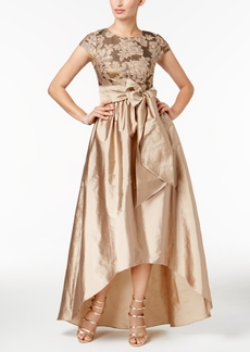Adrianna Papell Floral-Embroidered Taffeta High-Low Gown