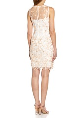 Adrianna Papell Floral Embroidery Appliqué Sleeveless Cocktail Sheath Dress