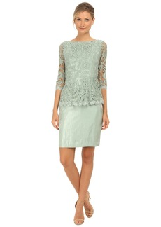 Adrianna Papell Floral Embroidery Peplum Dress