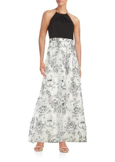 Adrianna Papell Floral Halter A-Line Gown