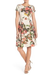 Adrianna Papell Floral Matelassé Fit & Flare Dress (Regular & Petite)