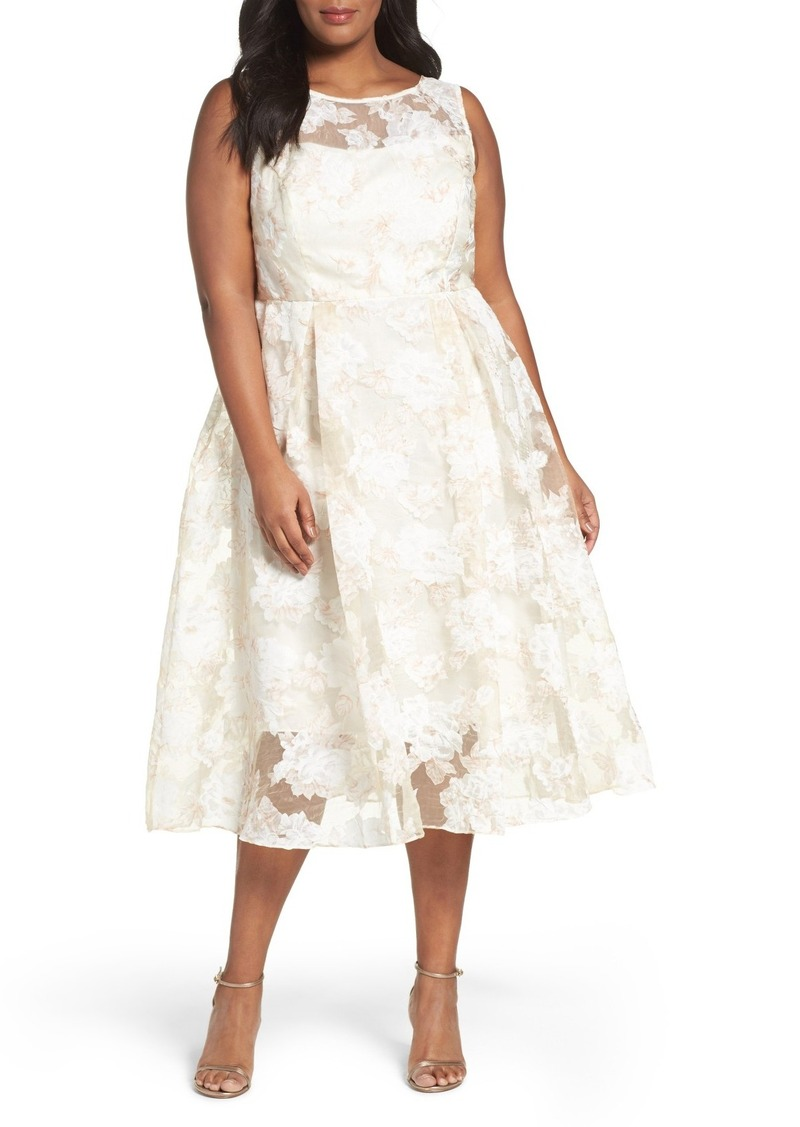 Floral Organza Midi Dress (Plus Size)