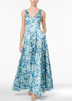 Adrianna Papell Floral-Print A-Line Gown