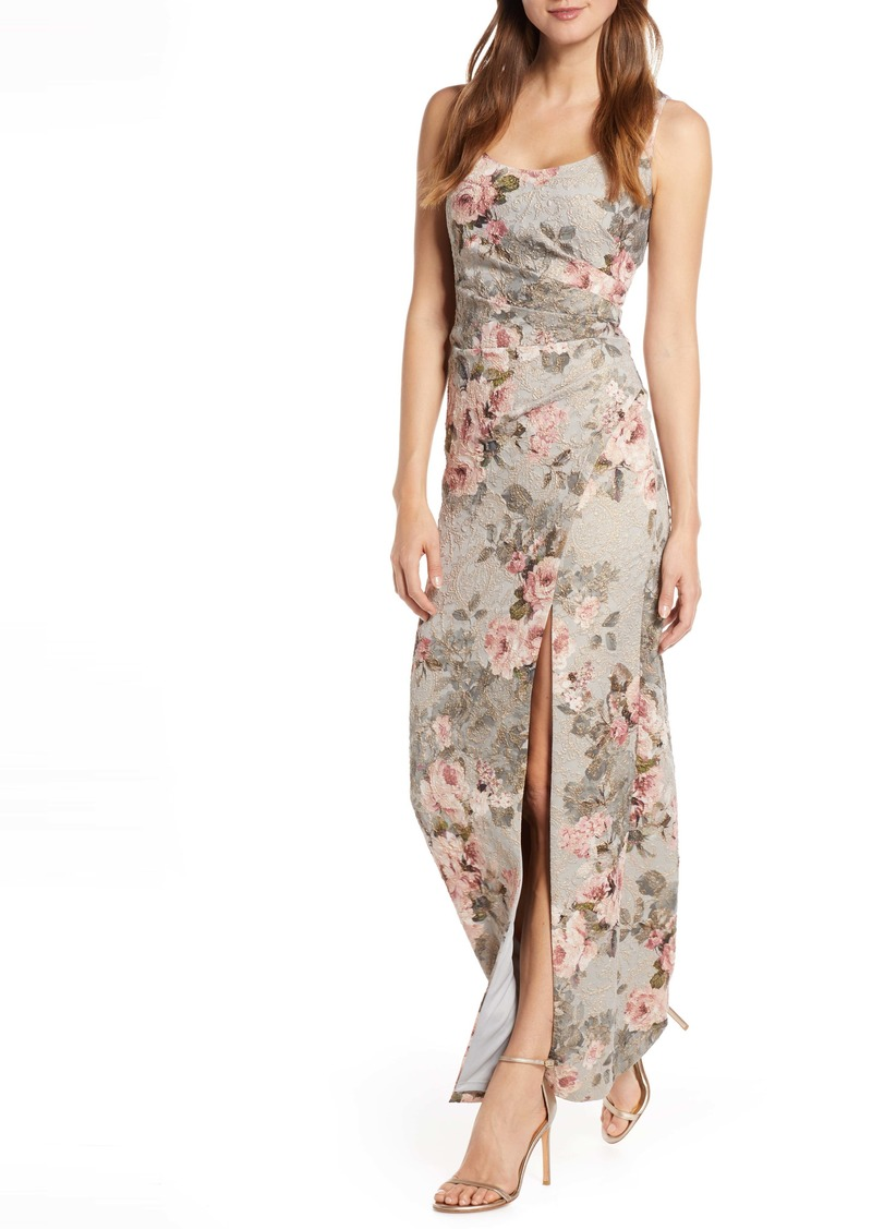 Adrianna Papell Floral Print Brocade Gown