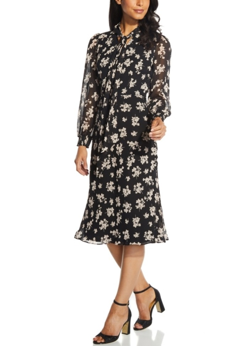 Adrianna Papell Floral-Print Chiffon A-Line Dress