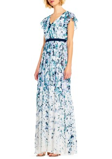 Adrianna Papell Floral Print Chiffon Gown
