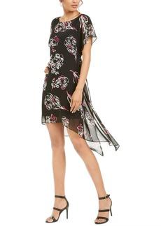 Adrianna Papell Floral Print Chiffon Overlay Dress