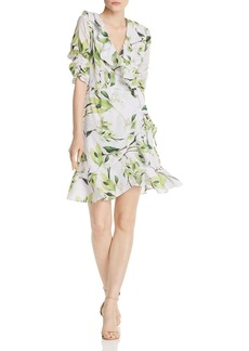 Adrianna Papell Floral Print Faux-Wrap Dress