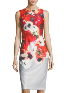 Adrianna Papell Floral-Print Midi Sheath Dress