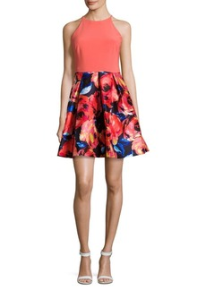 Adrianna Papell Floral-Print Pleated Halter Dress