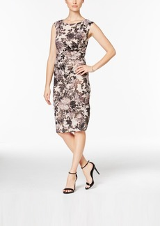 Adrianna Papell Floral-Print Ruched Sheath Dress