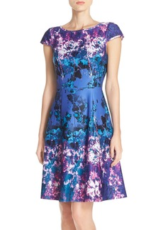 Adrianna Papell Floral Print Scuba Fit & Flare Dress (Regular & Petite)