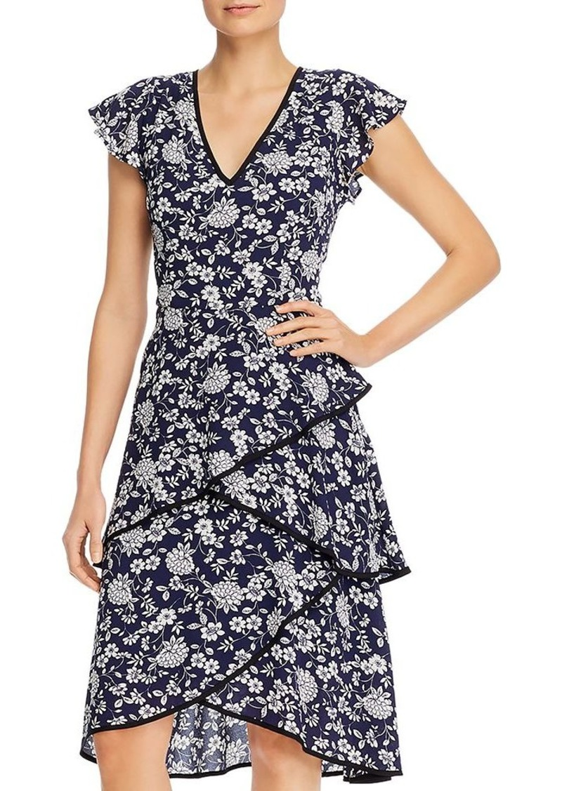 Adrianna Papell Floral Print Tiered Dress