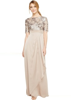 Adrianna Papell Floral Sequin Embroidered Drape Gown