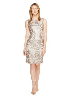 Adrianna Papell Floral Sequin Embroidered Sheath Dress