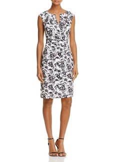 Adrianna Papell Floral Split Neck Shift Dress