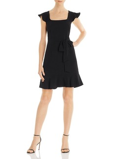 Adrianna Papell Flounced Crepe Dress