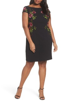 Adrianna Papell Flower Embroidered Crepe Sheath Dress (Plus Size)