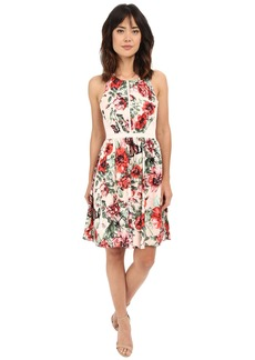 Adrianna Papell Flower Print Sleeveless Crossback Dress