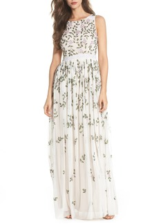 Adrianna Papell Flower Sequin Gown