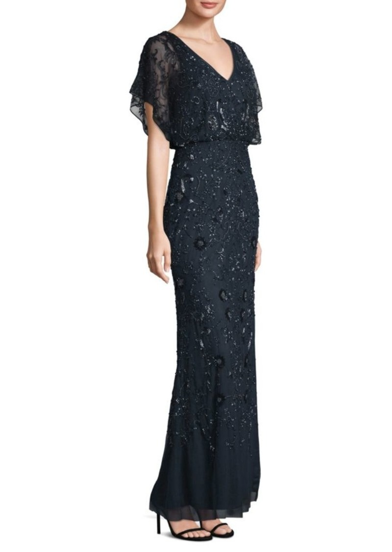 On Sale today! Adrianna Papell Flutter-Sleeve Beaded Gown
