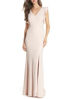 Adrianna Papell Flutter Sleeve Crepe Trumpet Gown (Regular & Petite)