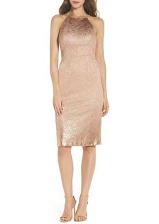 Adrianna Papell Foil Lace Sheath Dress