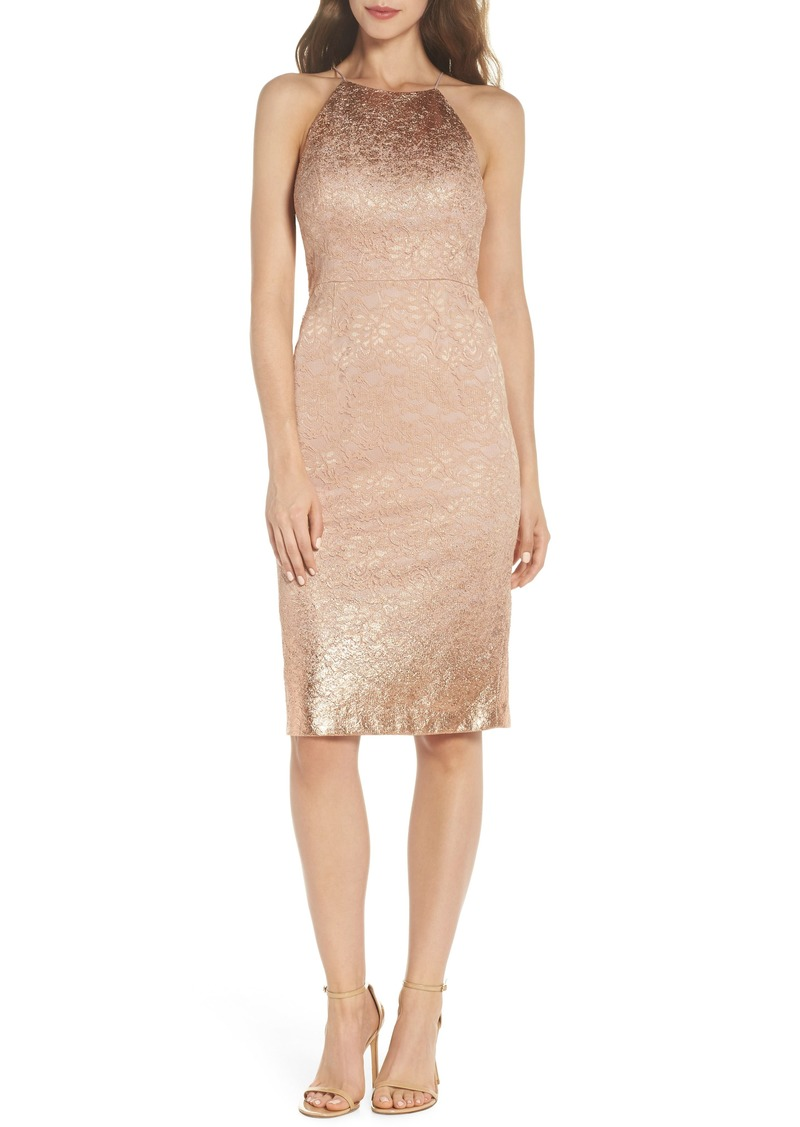 Adrianna Papell Foil Lace Sheath Dress
