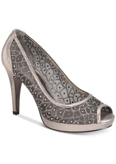 Adrianna Papell Foxy Peep-Toe Mesh Evening Pumps Women's Shoes