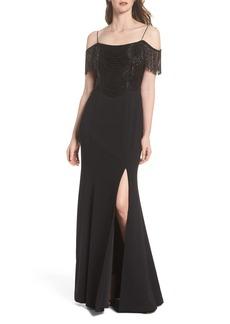 Adrianna Papell Fringe Cold Shoulder Crepe Gown