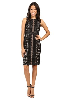 Adrianna Papell Fully Lined Striped Lace and Floral Sheath Dress with Jeweled Neckline