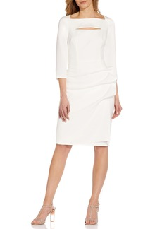 Adrianna Papell Gathered Cutout Long Sleeve Sheath Dress