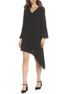 Adrianna Papell Gauzy Crepe Asymmetrical Trapeze Dress