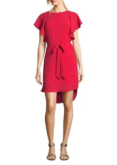 Adrianna Papell Gauzy Crepe Flutter-Sleeve A-Line Dress
