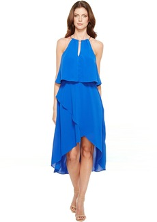 Adrianna Papell Gauzy Crepe Popover High-Low Dress with Wrap Skirt and Hardware on Neckline