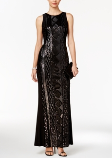 Adrianna Papell Geometric Sequin Gown