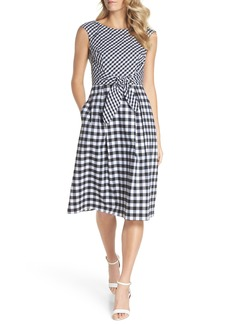 Adrianna Papell Gingham Tie Front Midi Dress