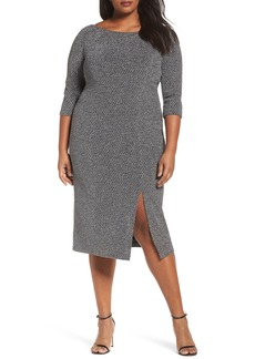 Adrianna Papell Glitter Knit Sheath Dress (Plus Size)