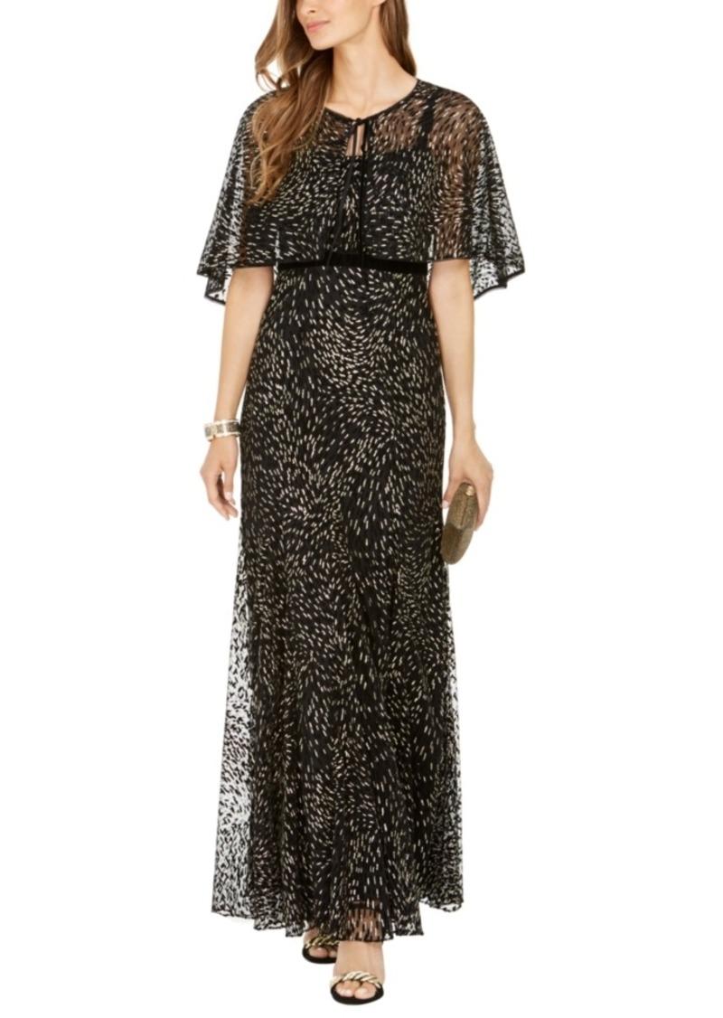Adrianna Papell Glitter-Velvet Gown & Capelet