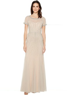 Adrianna Papell Gride Beaded Gown with Godets