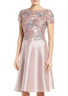 Adrianna Papell Guipure Lace & Mikado Dress (Regular & Petite)