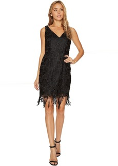 Adrianna Papell Guipure Lace Cocktail Dress with Fringe Hem Line