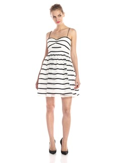 Adrianna Papell Hailey Women's Short Stripe Orgnaza Dress