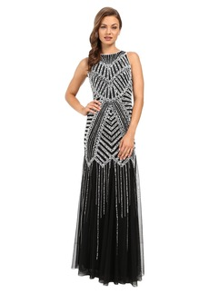 Adrianna Papell Halter Beaded Godet Gown