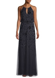 Adrianna Papell Halter Beaded Long Gown