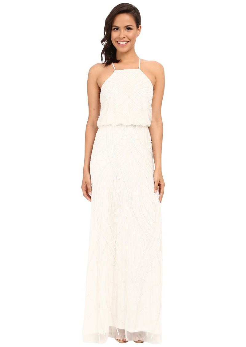 Adrianna Papell Halter Fully Beaded Gown