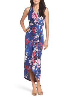 Adrianna Papell Halter High/Low Faux Wrap Maxi Dress
