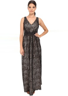 Adrianna Papell Halter Lace Illusion Dress