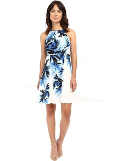 Adrianna Papell Halter Neck Fit & Flare Palm Print Dress